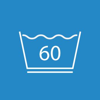 Waschsymbol 60 Grad unterstrichen